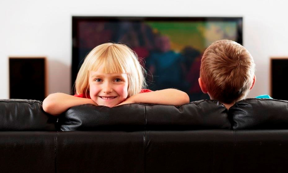 Kids Looking At Their New Telly